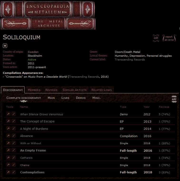 Soliloquium Metal Archives profile