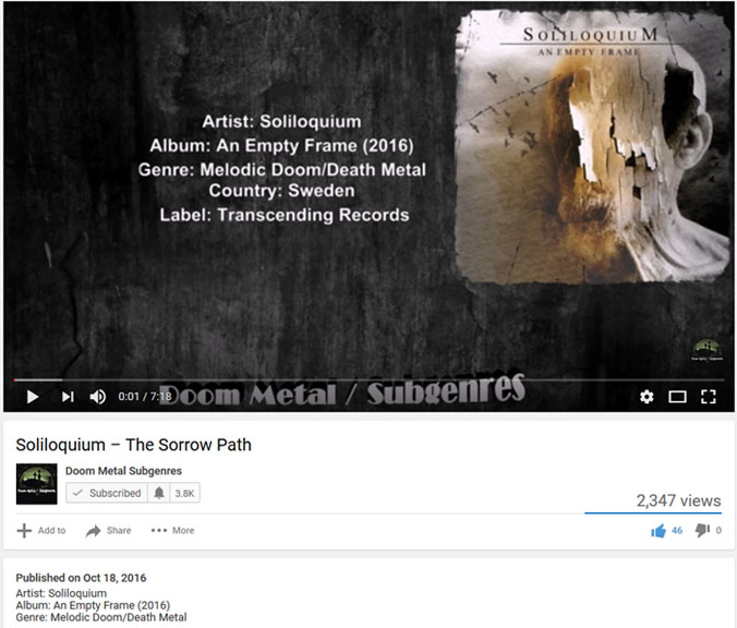 soliloquium doom metal subgenres youtube