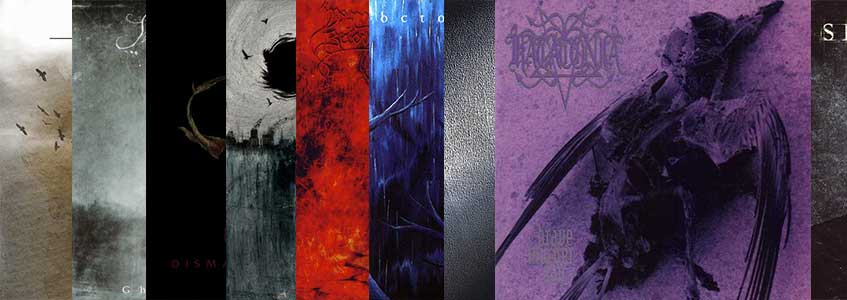 Death/doom metal collage with album covers